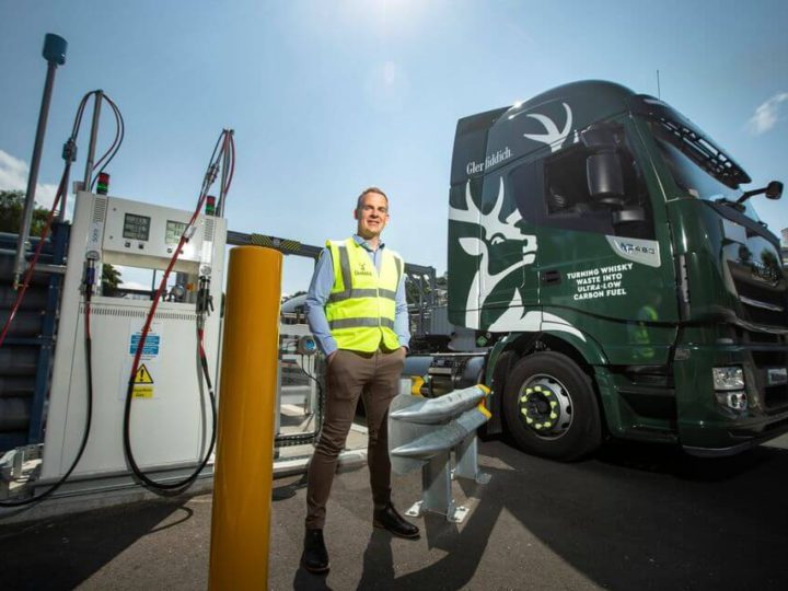 Glenfiddich runs its delivery trucks on biogas made from Whisky Waste