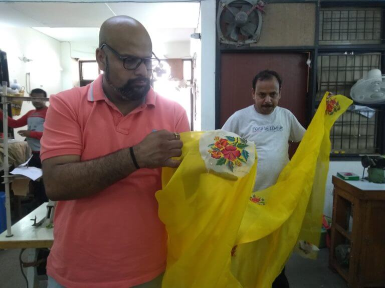Designer-Gautam-Gupta-upcycling-a-sari-in-his-factory