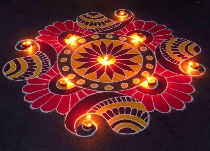 Handmade colourful clay diya for rangoli for diwali festival