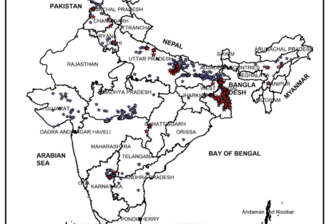 Locations of Arsenic Contamination in GroundWater in India